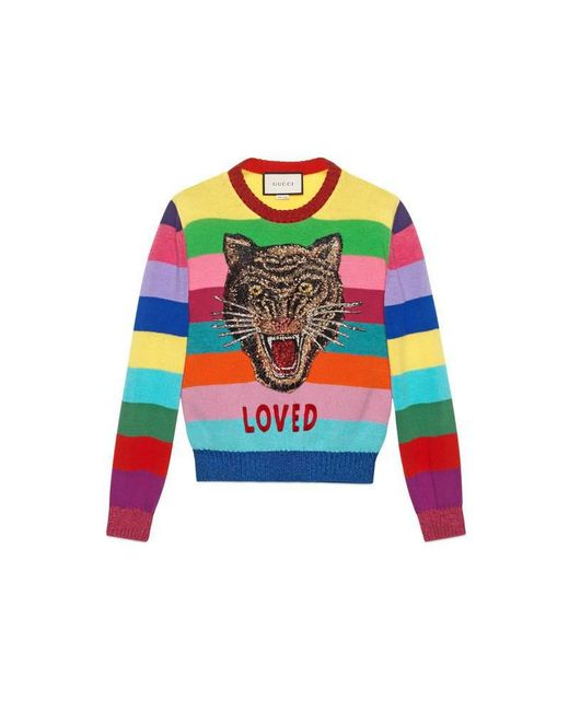 Gucci | Multicolor Wool Sweater With Embroidery | Lyst