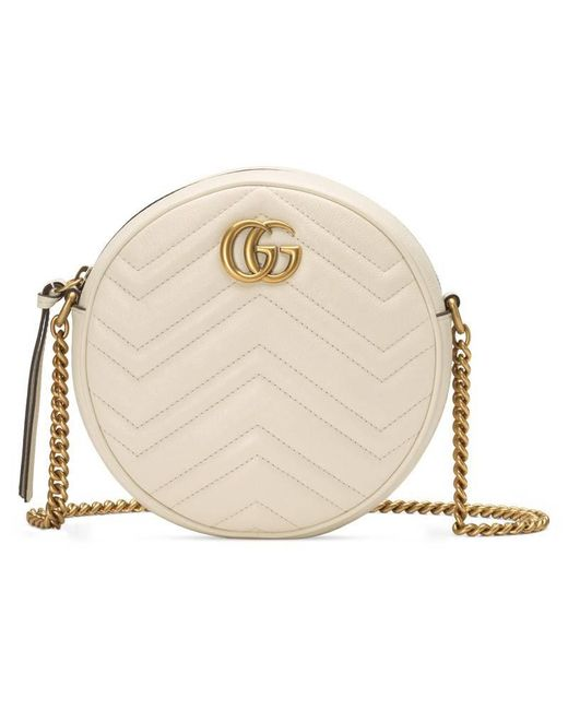 18a9bdaed Gucci GG Marmont Mini Round Shoulder Bag in White - Lyst