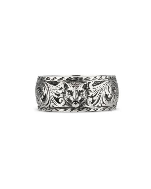 Gucci - Metallic Schmaler Ring aus Silber mit Felinekopf for Men - Lyst