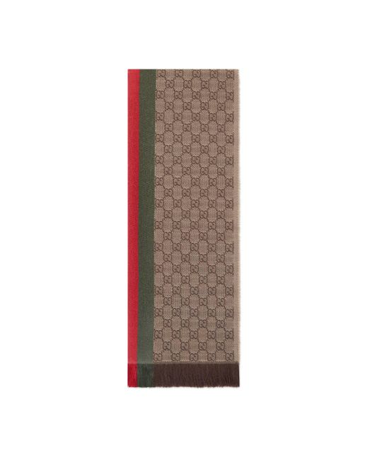 Gucci - Natural GG Jacquard Knitted Scarf With Web for Men - Lyst