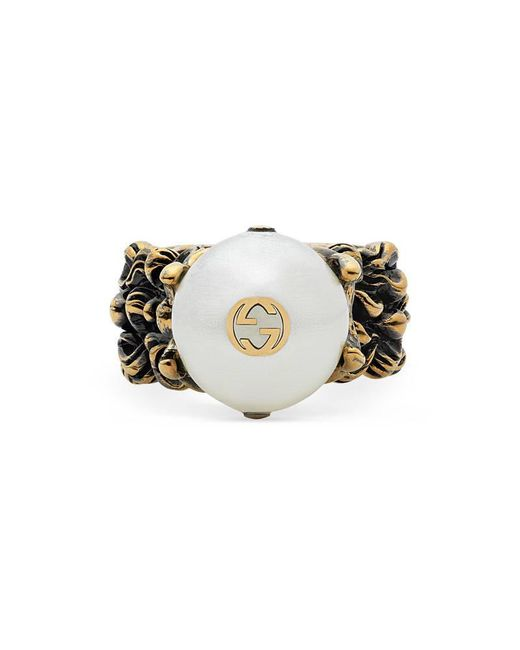 Gucci - Natural Textured Ring With Cream Glass Pearl - Lyst