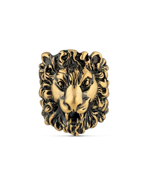 Gucci - Metallic Ring With Lion Head for Men - Lyst