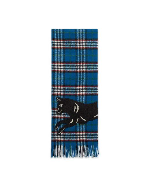 Gucci | Blue Check Wool Scarf With Wolf | Lyst