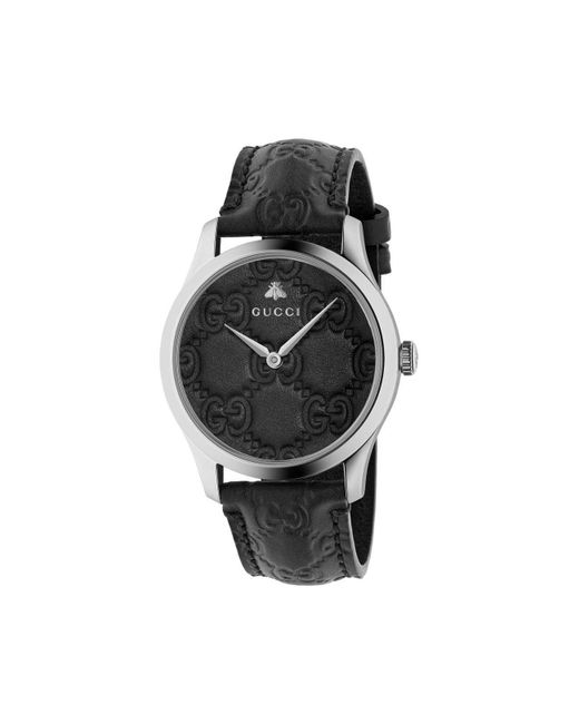Gucci Black Ya1264031 Unisex G-timeless Signature Stainless Steel Leather Strap Watch