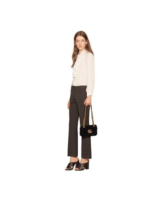 afa87b0b344e ... Gucci - Black GG Marmont Velvet Mini Shoulder Bag - Lyst ...