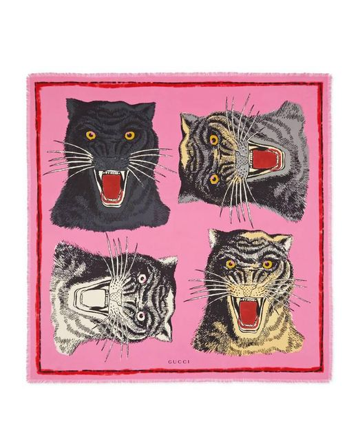 Gucci | Pink Tiger Face Print Silk Scarf | Lyst