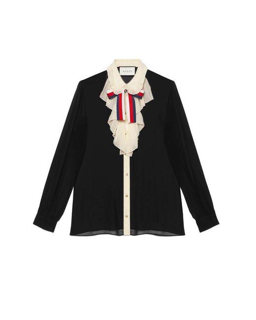 Gucci - Black Silk Georgette Shirt - Lyst