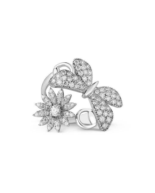 Gucci | Metallic Flora Ring In White Gold | Lyst