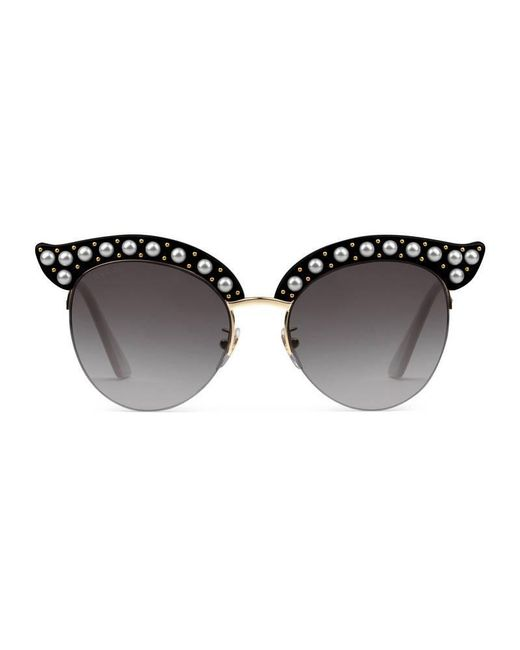 28fdc371c7 Lyst - Gucci Cat Eye Acetate Sunglasses With Pearls in Black