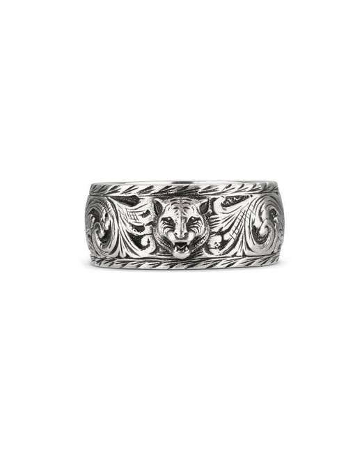 Gucci | Metallic Thin Silver Ring With Feline Head for Men | Lyst