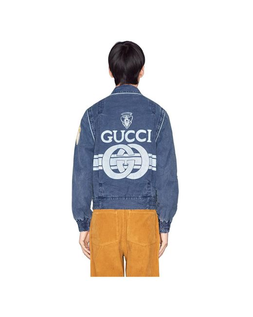 5ab85ee0a ... Gucci - Blue Printed Logo Washed Denim Jacket for Men - Lyst ...
