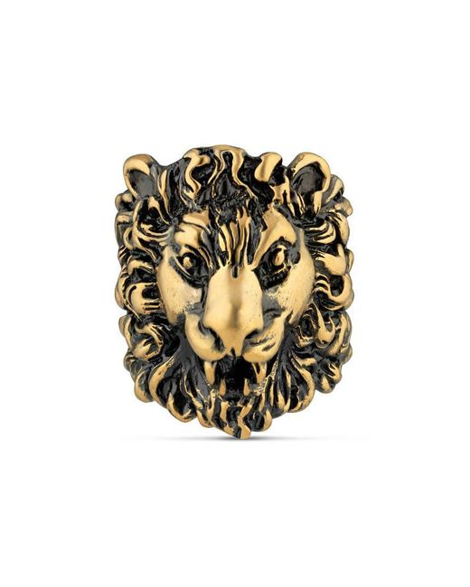 Gucci   Metallic Ring With Lion Head   Lyst