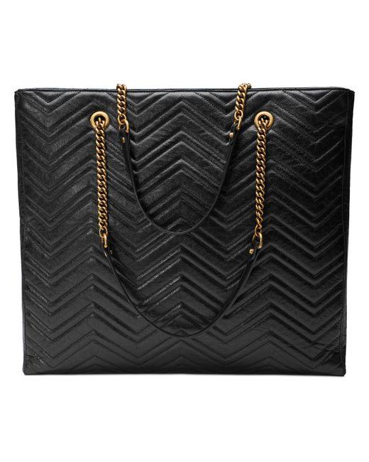 a50286841dc5 ... Gucci - Black GG Marmont Matelassé Large Tote - Lyst ...
