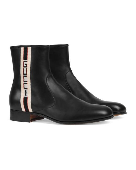 Gucci - Black Stripe Leather Boot for Men - Lyst