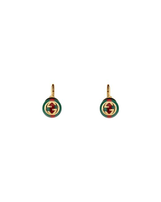 Gucci - Green Web Earrings - Lyst