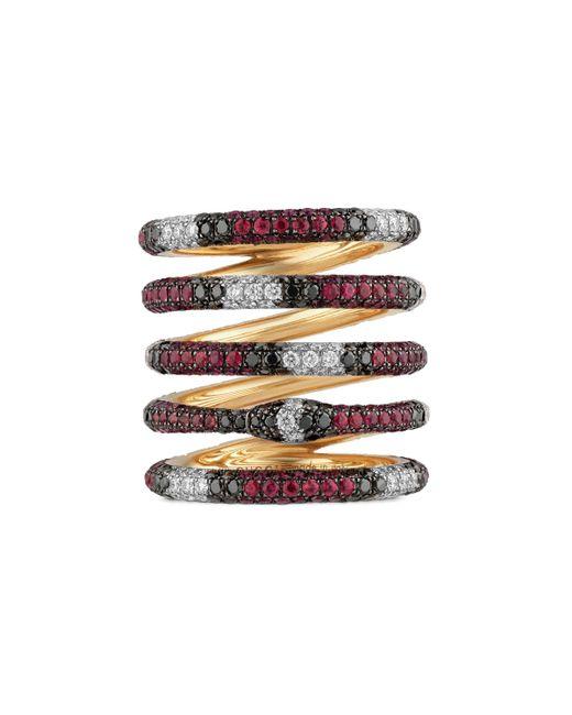 7080b1ce3d6 Gucci - Metallic Bague Ouroboros à cinq anneaux en or avec gemmes - Lyst ...