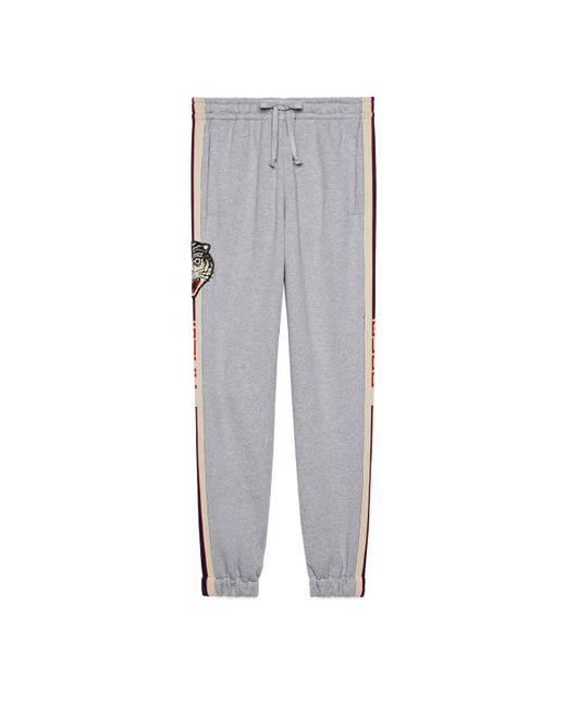 Gucci Gray Stripe Cotton jogging Pants for men