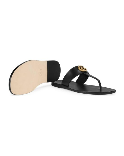 bcd320ec88a ... Gucci - Black Leather Thong Sandal With Double G for Men - Lyst ...