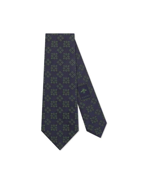 Gucci - Blue Bees And Stars Squares Silk Tie for Men - Lyst