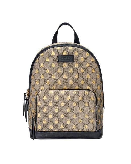 eaacfce98bb094 Gucci - Natural GG Supreme Bees Backpack - Lyst ...