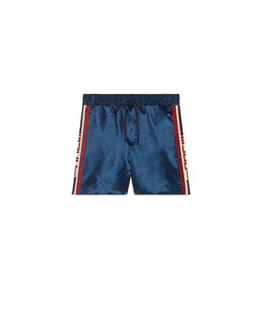 Gucci - Blue Short de Acetato con Rayas for Men - Lyst