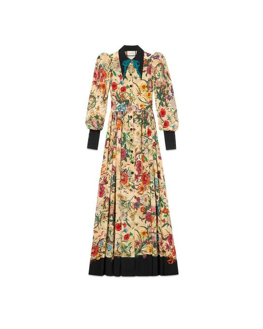 Gucci | Natural Flora Snake Silk Long Sleeve Gown | Lyst