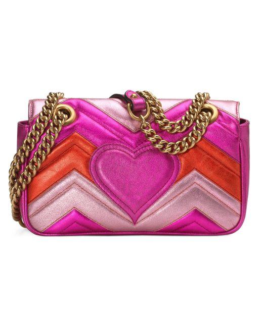 041d4ea7d5b ... Gucci - Pink GG Marmont Mini Matelassé Bag - Lyst