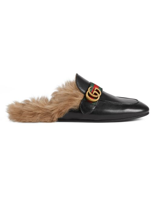 Gucci - Black Princetown Leather Slipper With Double G for Men - Lyst