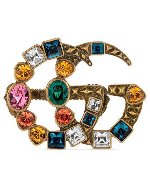 Gucci - Metallic GG Crystal Embellished Ring - Lyst