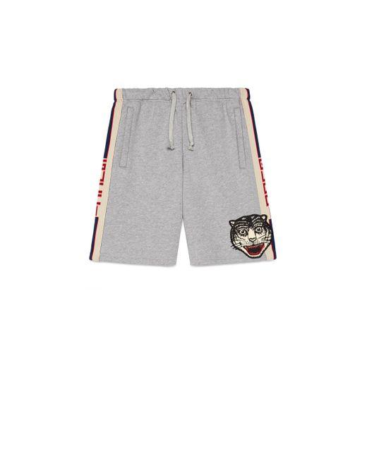 Short en coton à rayure Gucci pour homme en coloris Gray
