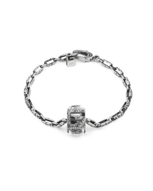 Gucci - Metallic Bracelet With Square G Cube In Silver - Lyst