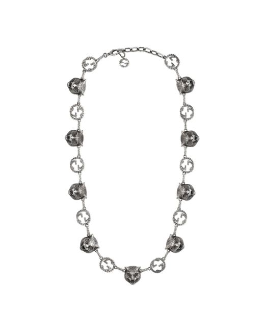 Gucci - Metallic Collar Garden con Cabezas Felinas for Men - Lyst