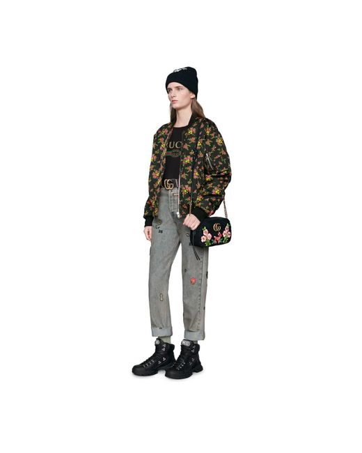 08ebeccbb9d ... Gucci - Black GG Marmont Velvet Small Shoulder Bag - Lyst ...