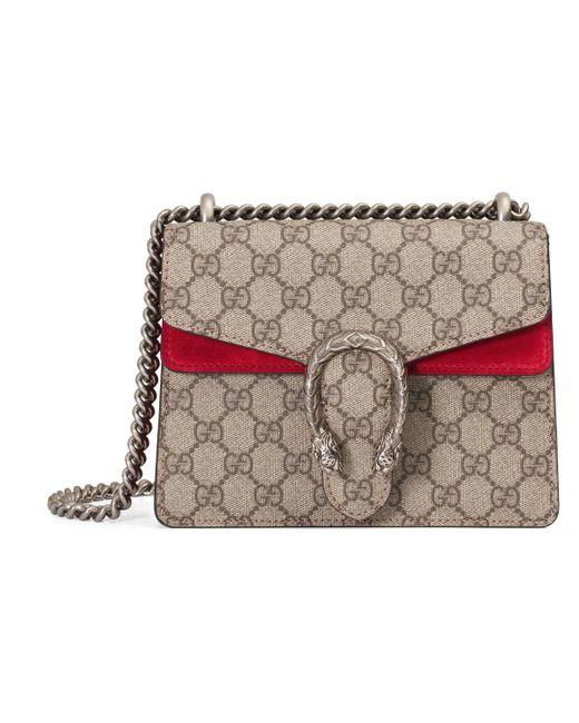 1c4c21b61c0 Gucci Dionysus Gg Supreme Mini Bag in Red - Lyst