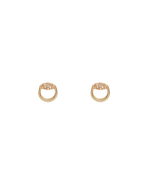 Gucci - Metallic Horsebit Stud Earrings In Yellow Gold And Brown Diamonds - Lyst