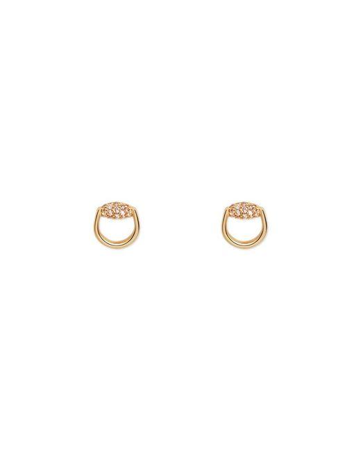 Gucci | Metallic Horsebit Stud Earrings In Yellow Gold And Brown Diamonds | Lyst