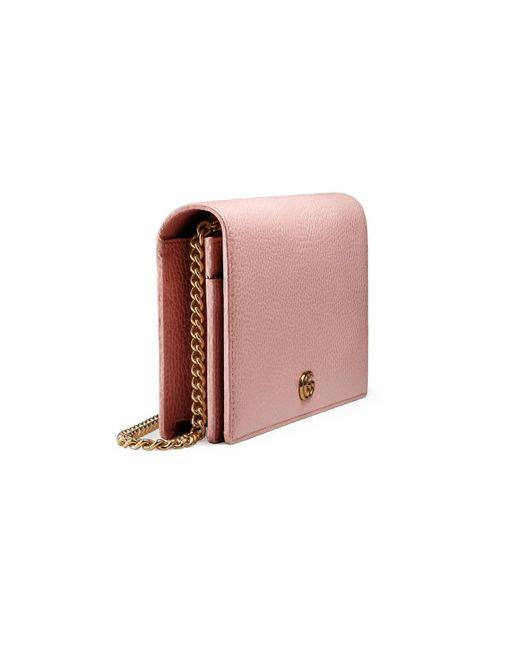 ee65db63bbb ... Gucci - Pink GG Marmont Leather Mini Chain Bag - Lyst ...