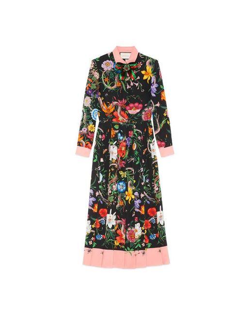 Gucci | Black Flora Snake Print Silk Dress | Lyst