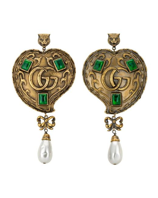 Gucci - Green Heart Earrings With Pearls - Lyst