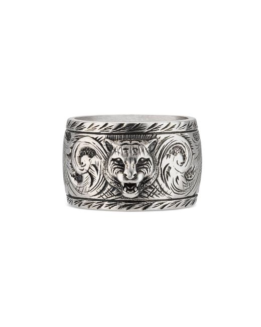 Gucci - Metallic Wide Silver Ring With Feline Head for Men - Lyst