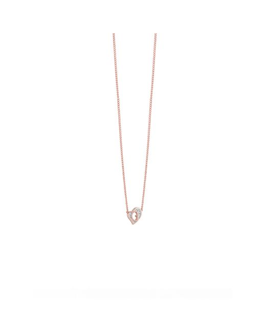 Guess | Pink G Hearts Rose Gold Plated Necklace | Lyst