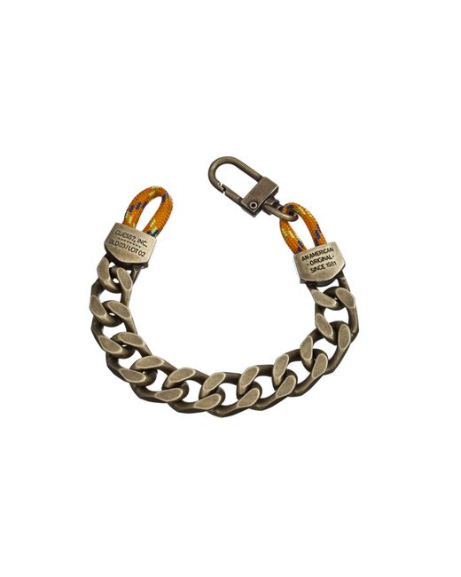 Guess | Metallic Brass Chain And Cord Bracelet for Men | Lyst