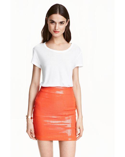 H&M | Orange Sequined Skirt | Lyst