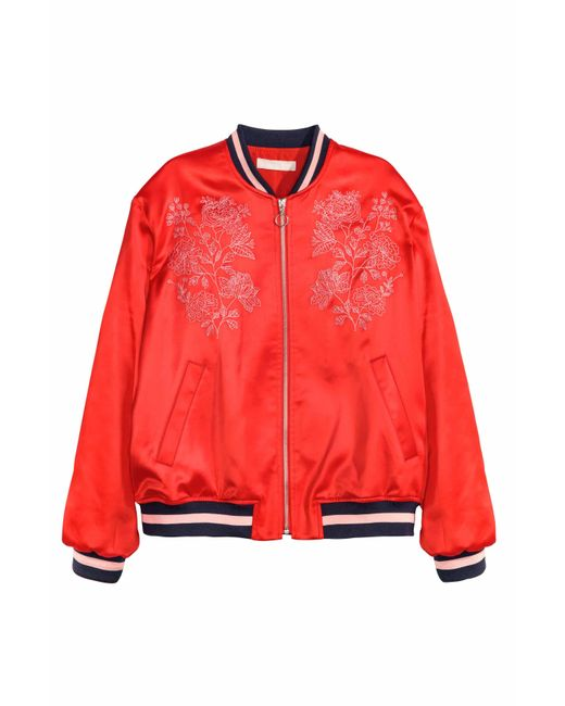 H Amp M Embroidered Bomber Jacket In Red Lyst
