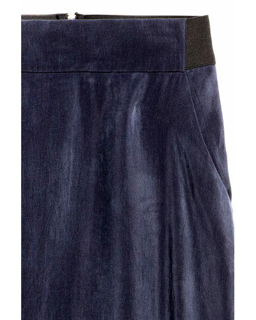 h m cupro skirt in blue lyst