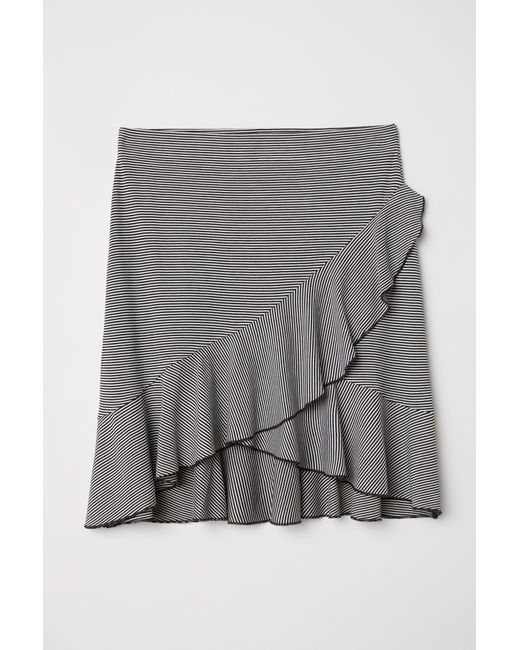 39239e05c2 H&M Jersey Flounced Skirt in White - Lyst
