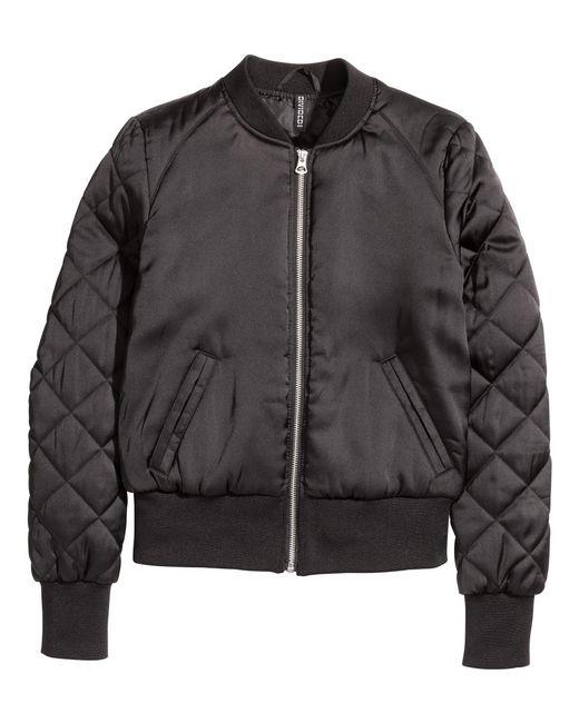 Hu0026m Bomber Jacket In Black | Lyst