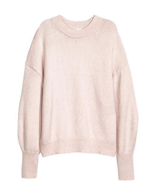 H&M | Pink Knitted Jumper | Lyst