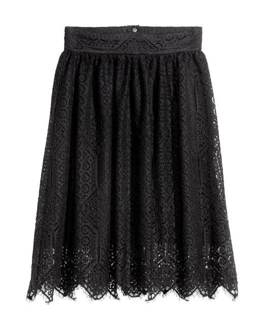 H&M | Black Chiffon Skirt With Lace | Lyst