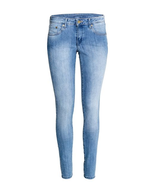 H&M | Blue Super Skinny Low Jeans | Lyst